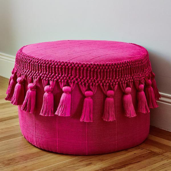 Pink Boho Chic Tassel Pouf - Image 2 of 3
