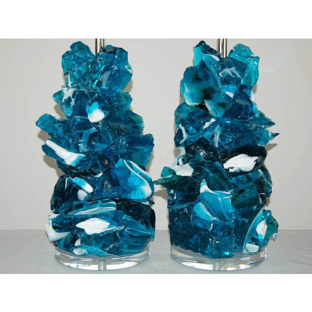 Glass Rock Table Lamps by Swank Lighting Striped Blue For Sale - Image 10 of 10