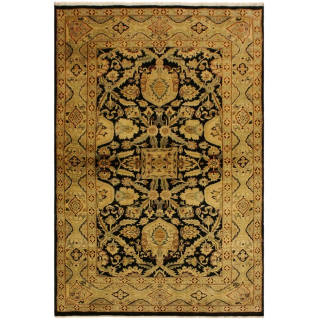 Green Istanbul Dorla Black/Tan Turkish Hand-Knotted Rug -4'2 X 6'7 For Sale - Image 8 of 8