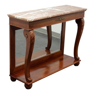 Ethan Allen Regent's Park Mahogany Marble Top Mirrored Back Console Table For Sale