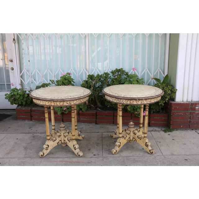 Vintage pair of Campaign carved and painted tall center tables in excellent condition. No damages or missing parts. Very...