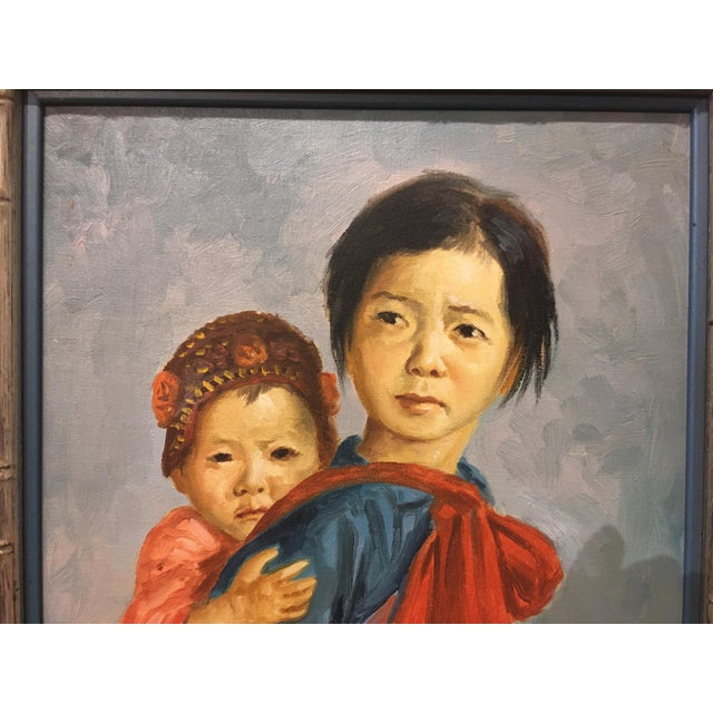 1960s Vintage Portrait of Mother and Child Oil Painting, Framed For Sale - Image 5 of 8