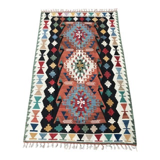"Vintage Anatolian Handwoven Tribal Kilim Rug-4'8""x7'8""-Medallion Rug-Flatweave-Authentic-Tribal-Nomadic-Bohemian Home Decor For Sale"