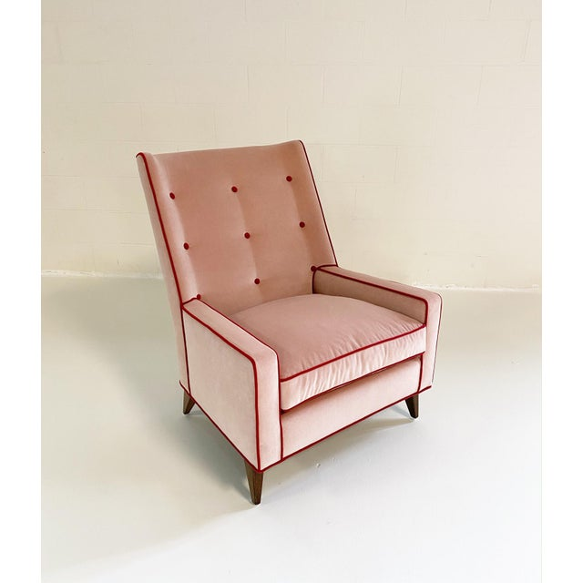 Paul McCobb Style Lounge Chair in Schumacher Velvet and Loro Piana Cashmere For Sale In Saint Louis - Image 6 of 8