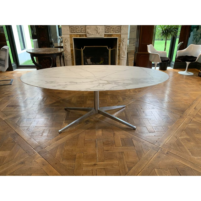 Oval Knoll Marble Top Dining Table For Sale - Image 13 of 13