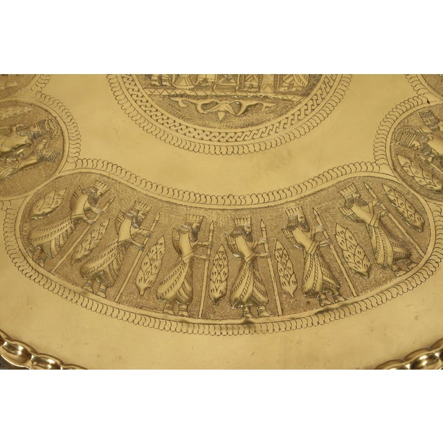 Large Brass Persian Hanging Tray For Sale In Los Angeles - Image 6 of 9