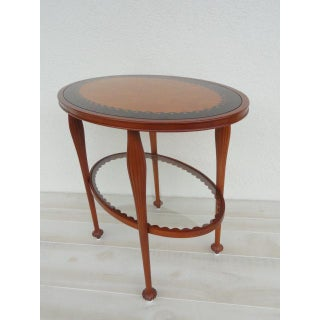 20th Century French Regency Jaques Grange for John Widdicomb Two Tiered Oval Inlaid Table Preview