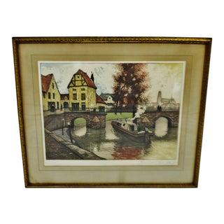 Vintage Framed Artist Proof Color Etching European Landscape Scene - Artist Signed For Sale