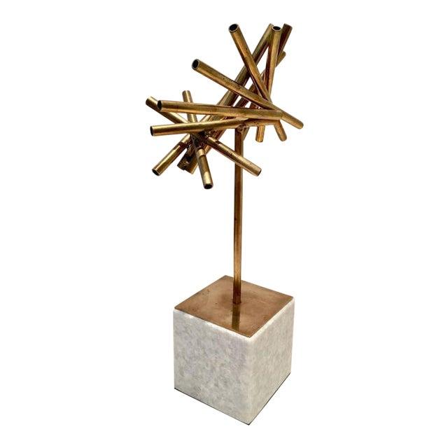 Modern Brass & Marble Abstract Tubular Sticks Sculpture - Image 1 of 9