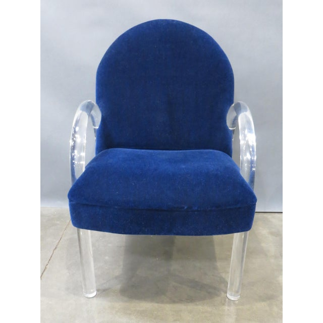 Blue Pair of Pace Collection Lucite Waterfall Dining or Side Chairs Circa 1980 For Sale - Image 8 of 12