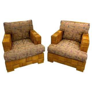 """Pair of Donghia Woven Rattan """"Block Island"""" Club Chairs by John Hutton For Sale"""
