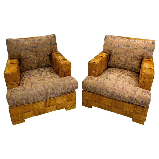 "Pair of Donghia Woven Rattan ""Block Island"" Club Chairs by John Hutton For Sale"