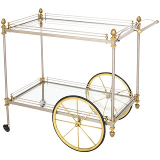Italian Brass & Steel Bar Cart For Sale