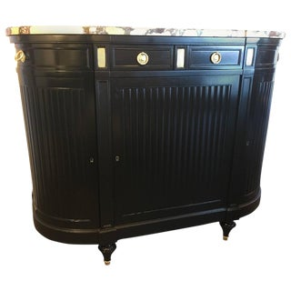 Maison Jansen Louis XVI Style Ebonized Demilune Server Cabinet