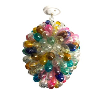 Bright Colorful Round Light Fixture of Recycled Handblown Glass For Sale