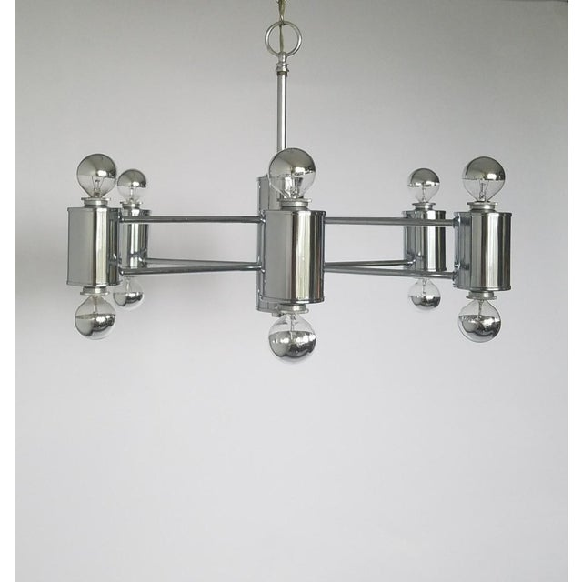 Mid-Century Modern Mid-Century Modern Sciolaris Chrome Chandelier For Sale - Image 3 of 12