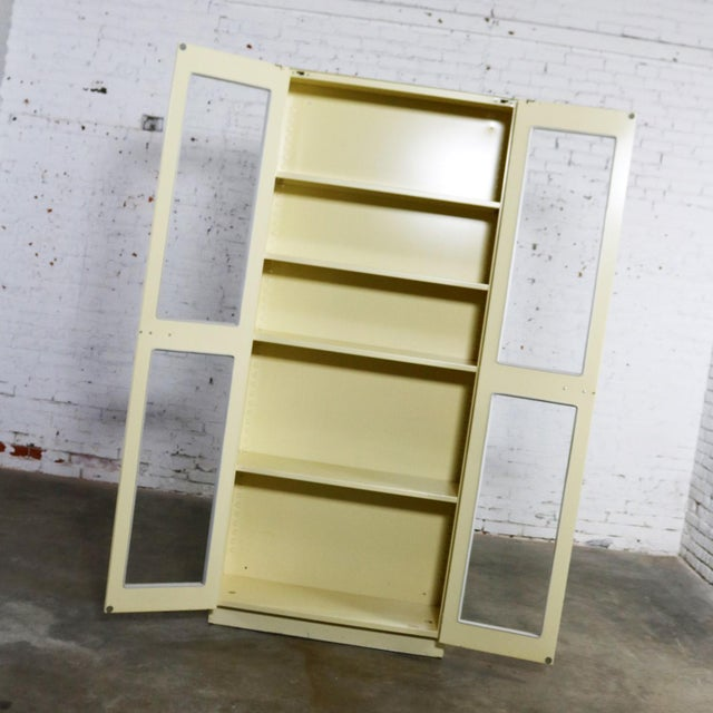 Ceramic Industrial Metal 36 Inch Wide Display Cabinet or Bookcase With Glass Doors For Sale - Image 7 of 13