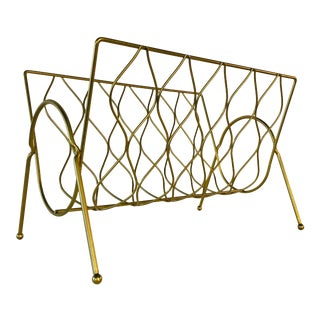 Vintage 1960s Gold Metal Single Magazine Holder For Sale