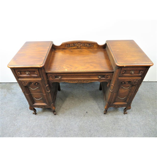 Brown Louis XV Style Carved Oak Vanity For Sale - Image 8 of 11