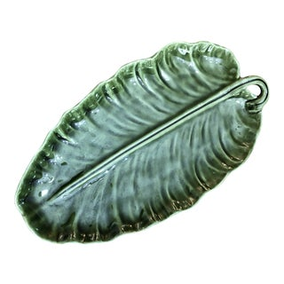 1970s Hollywood Regency Olfaire Pottery Leaf Platter For Sale