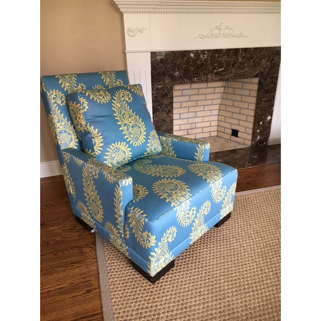 Blue Paisley Silk Upholstered Club Chair - Image 2 of 4