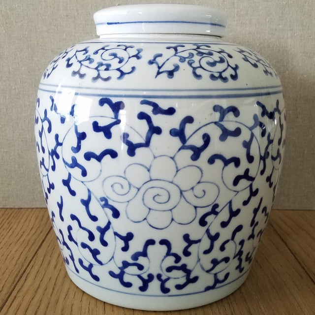 Vintage Chinoiserie Blue & White Ginger Jar For Sale In Dallas - Image 6 of 6