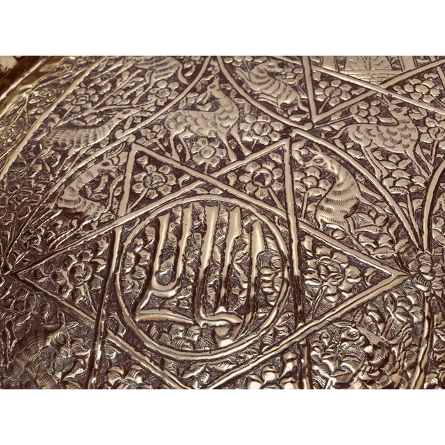 Large Handcrafted Decorative Indo-Persian Hammered Brass Tray For Sale - Image 11 of 13