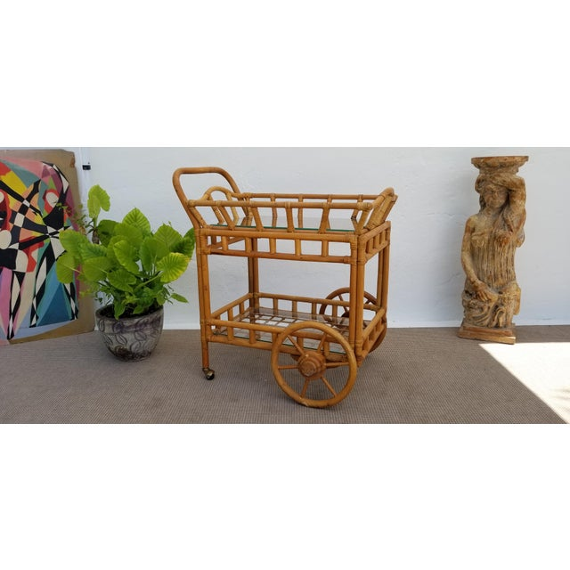 Vintage Boho Chic Rattan & Bamboo Rolling Bar Cart For Sale - Image 13 of 13