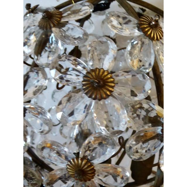 Maison Baguès Floral Crystal Ball Form Chandelier, 1920s For Sale - Image 10 of 12
