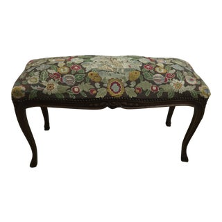20th Century French Avocado Tapestry Walnut Bench