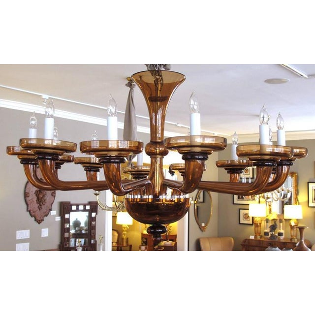 1980s Large and Richly-Colored Murano Twelve-Light Amber Glass Chandelier For Sale - Image 5 of 5