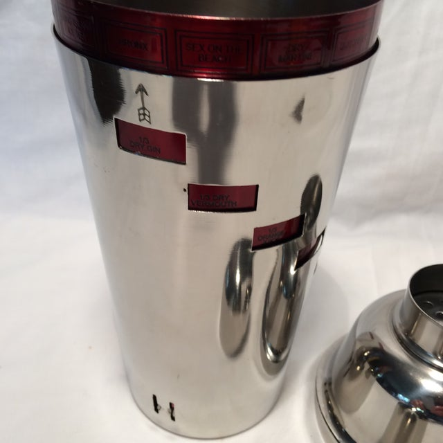 Red Anodized Stainless Steel Recipe Cocktail Shaker For Sale In Sacramento - Image 6 of 11