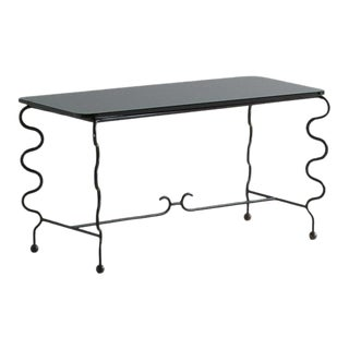 Royere Style Glass and Metal Coffee Table For Sale