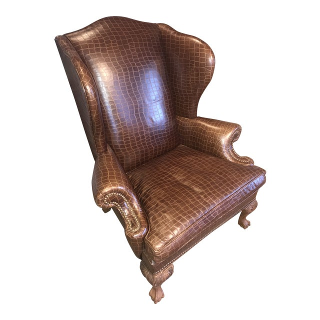 Ethan Allen Giles Leather Chair For Sale