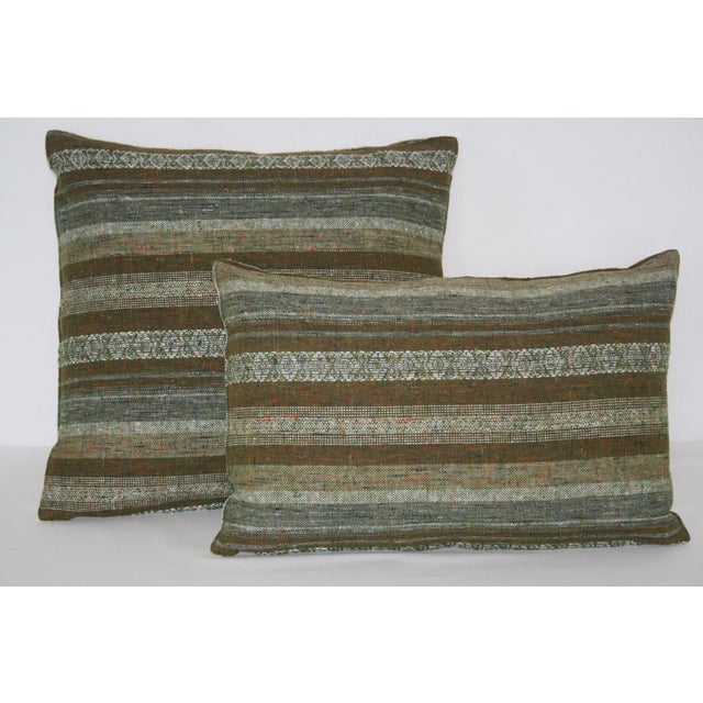 Fabric 1960's Contemporary Striped Green Wool Pillows - a Pair For Sale - Image 7 of 7