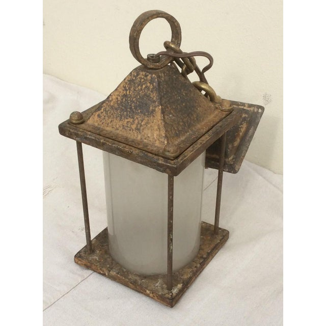 Antique Hammered Texture Iron and Glass Lantern For Sale - Image 10 of 11