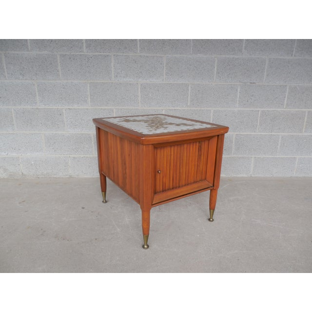 Brown Mid Century Modern Mosaic Tile Top End Table For Sale - Image 8 of 8