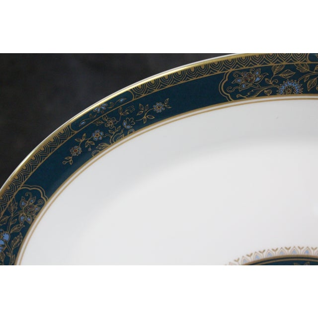 Mid 20th Century Royal Doulton Turquoise & Gold Floral Platters - A Pair For Sale - Image 5 of 7