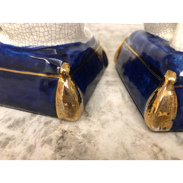 Blue Vintage Fitz and Floyd Calico Cat Bookend Statues - a Pair For Sale - Image 8 of 9