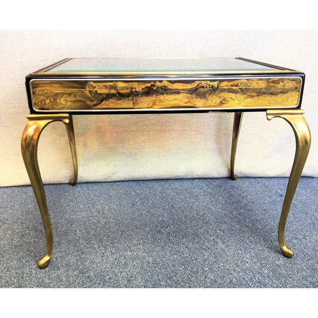 Mastercraft by Bernhard Rohne Etched Brass Table For Sale - Image 5 of 6
