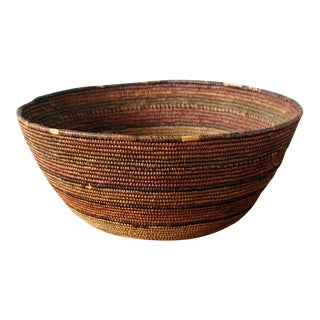 Antique Coiled Tribal Basket For Sale