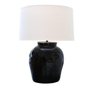 Black Glazed Ceramic Lamp For Sale