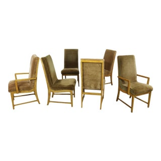 6 Modern Style Vintage Dining Chairs Velvet Scoop Seats Bernhardt Flair for Hibriten For Sale