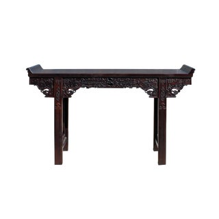Chinese Brown Huali Rosewood Point Edge Relief Carving Altar Table