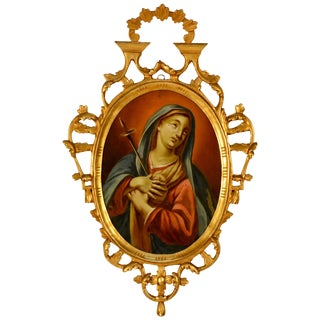 Late 19th Century Spanish Religious Reverse Painting Our Lady of Sorrows For Sale