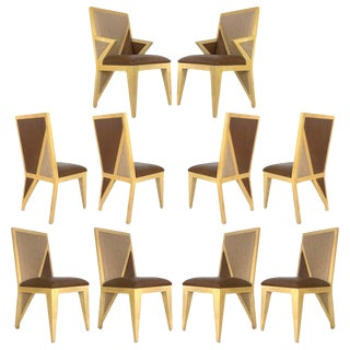 Custom Postmodern Memphis Style Blonde Wood Dining or Occasional Chairs - Set of 10 For Sale