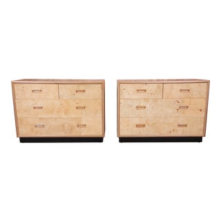 Milo Baughman Style Burl Wood Bachelor Chests or Large Bedside Chests by Henredon, Newly Refinished For Sale