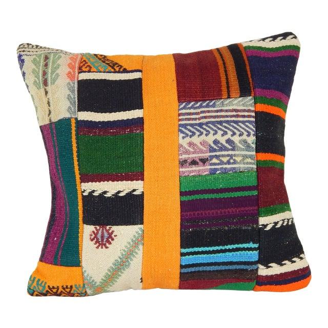 "Vintage Turkish Patchwork Kilim Pillow 20"" X 20"" For Sale"