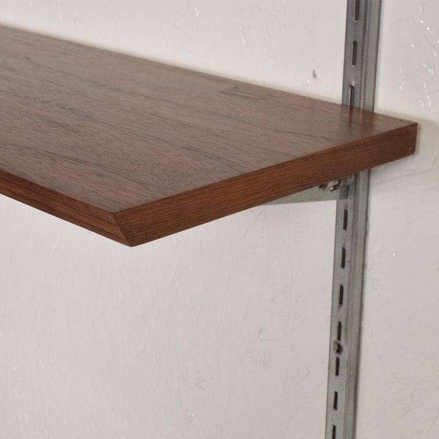 1960s Mid-Century Modern Eames Era Walnut & Aluminum Bookcase Shelving Wall Unit For Sale - Image 5 of 10