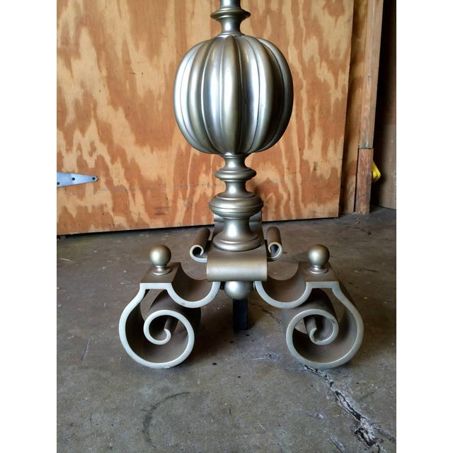 1950s Large-Scale Italian Baroque Style Brass Andirons - A Pair For Sale - Image 5 of 7